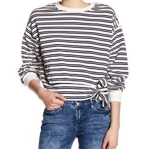 Kensie Jeans | Cropped Tie Hem Striped Sweatshirt